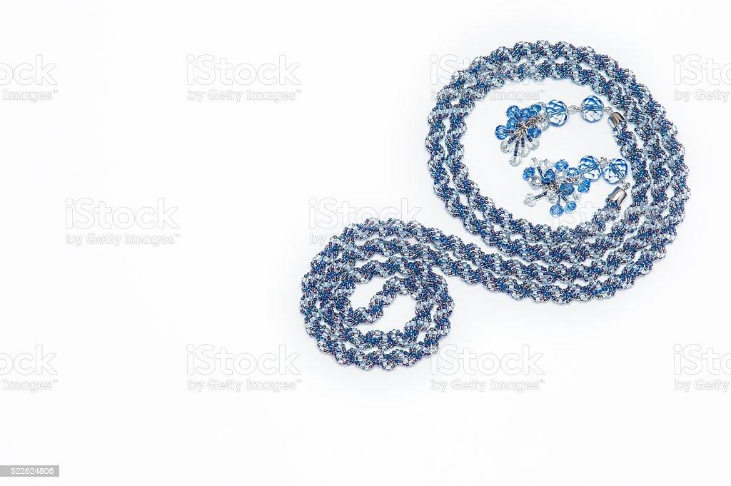 Blue beaded American rope handmade stock photo