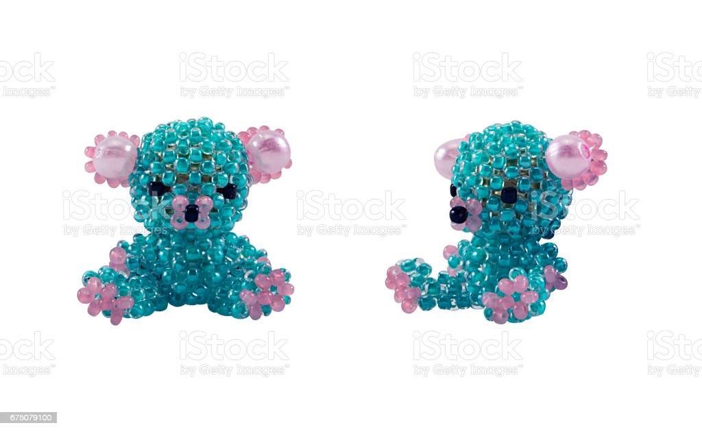 Blue beaded bear toy stock photo