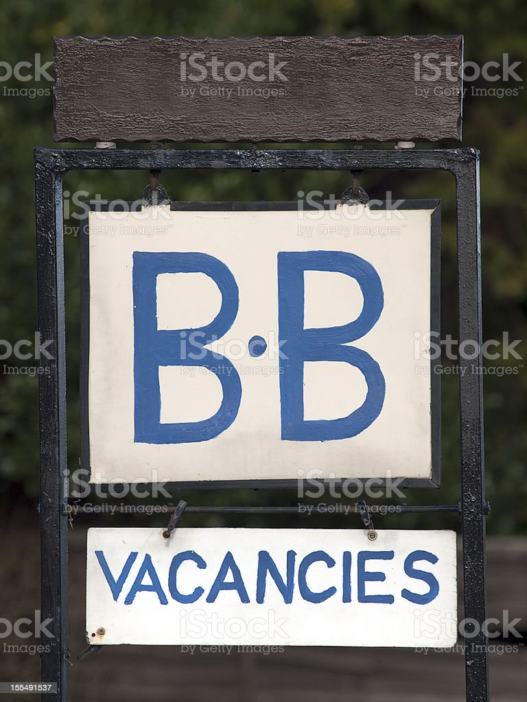 A blue bed and breakfast sign showing vacancies available. royalty-free stock photo