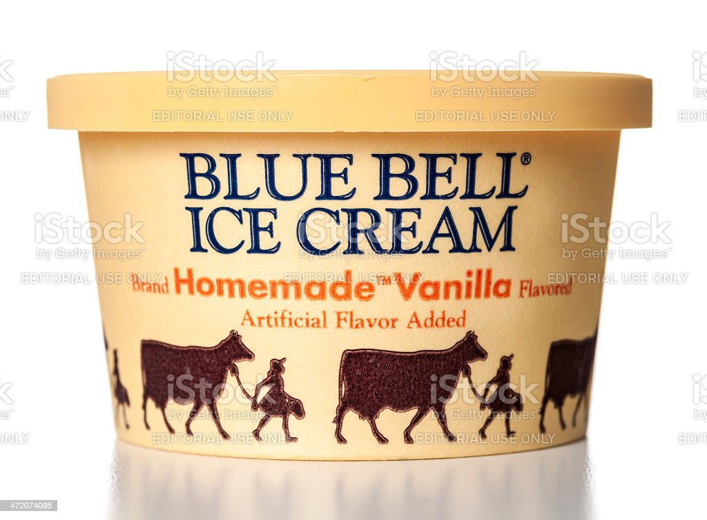 Blue Bell Homemade Vanilla Flavored Ice Cream jar stock photo