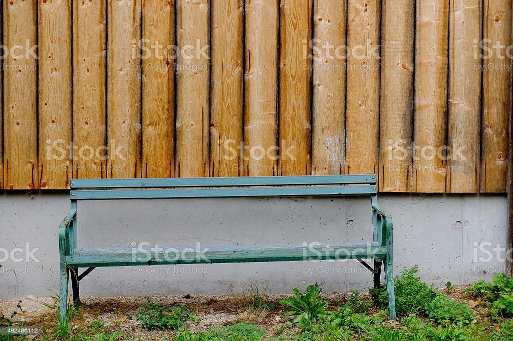Blue bench stock photo