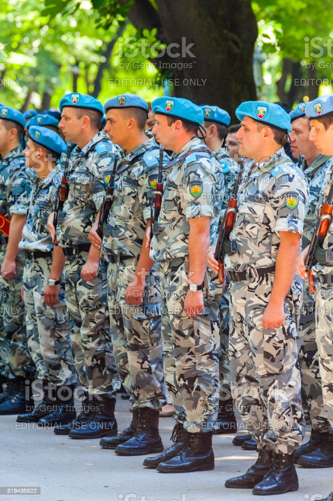 Blue Berets on Bulgarian Soldiers stock photo