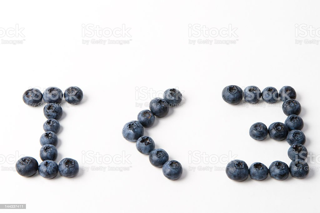 I < 3 Blue Berries royalty-free stock photo