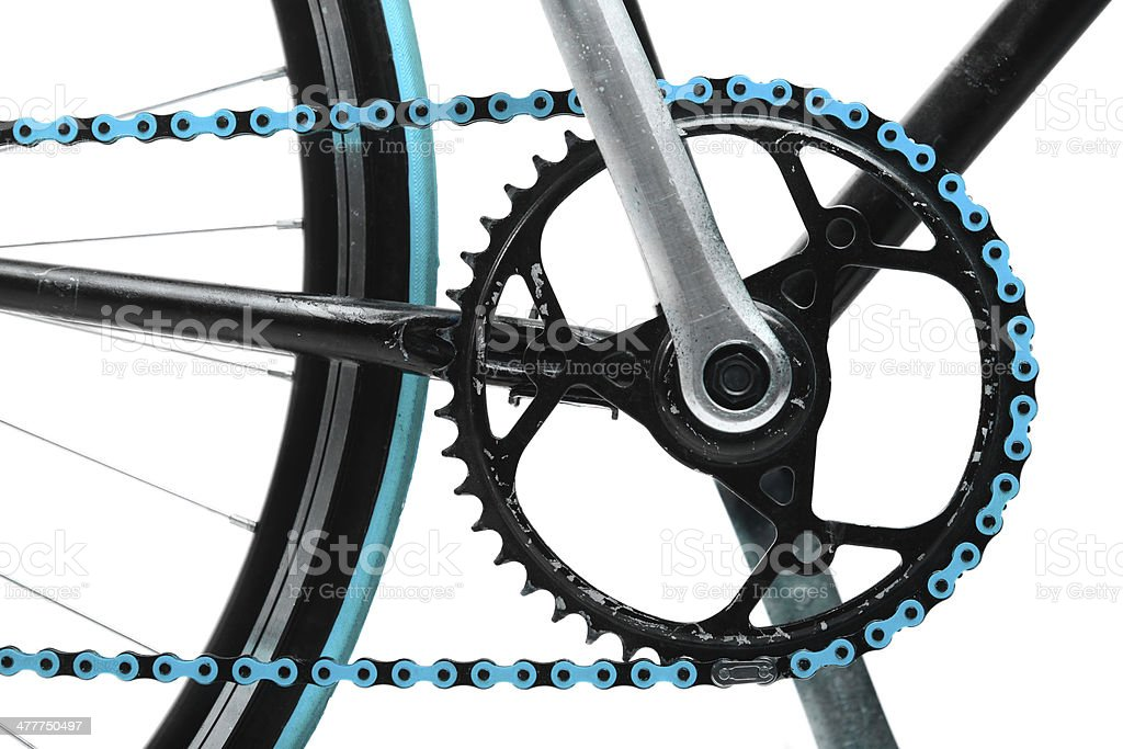 Blue bicycle chain stock photo