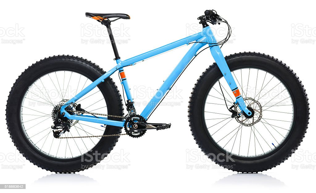Blue bicycle isolated on a white background stock photo