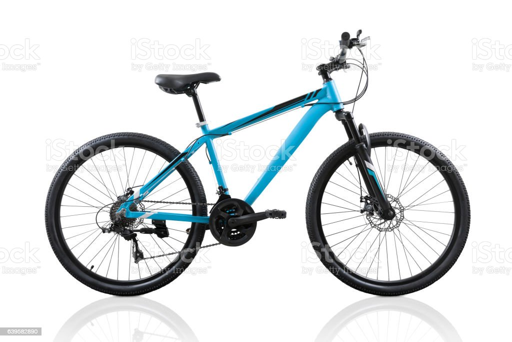 Blue bicycle isolated on white background with clipping path stock photo