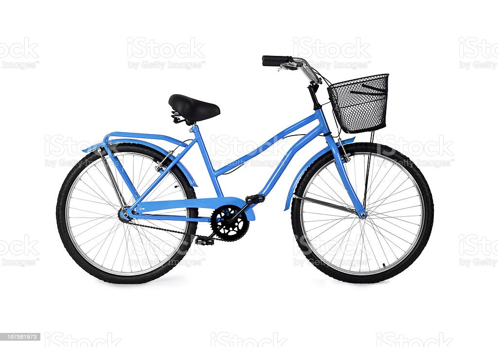 A blue bicycle on a white background  stock photo