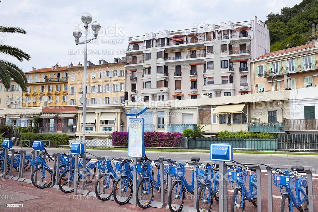 Blue Bicycles for Hire in Nice, France royalty-free stock photo