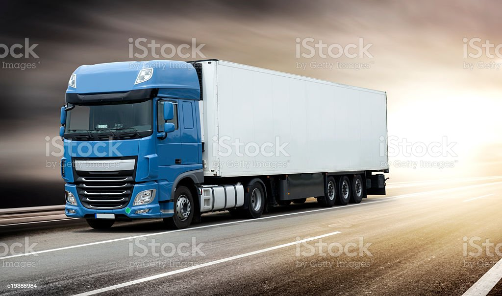 Blue big truck - clipping mask stock photo