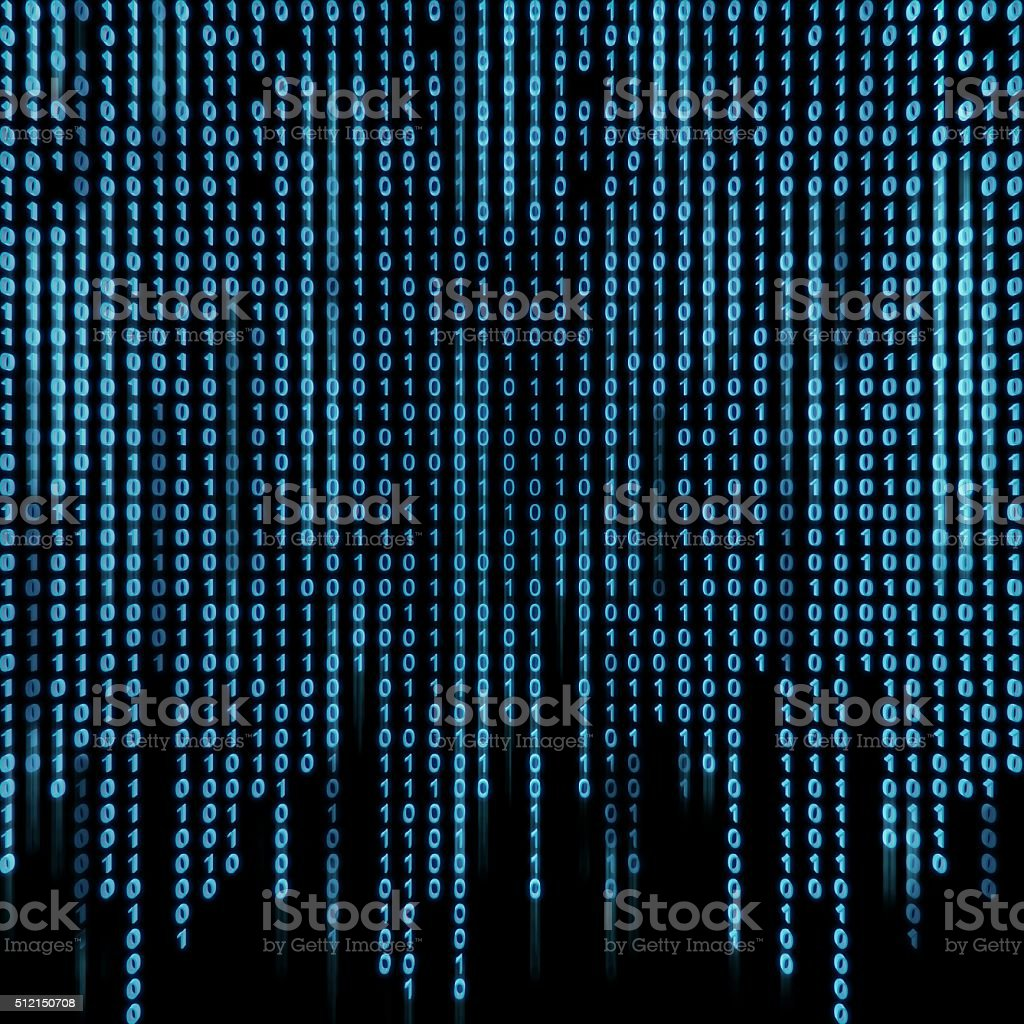 Blue binary stream on the screen. stock photo