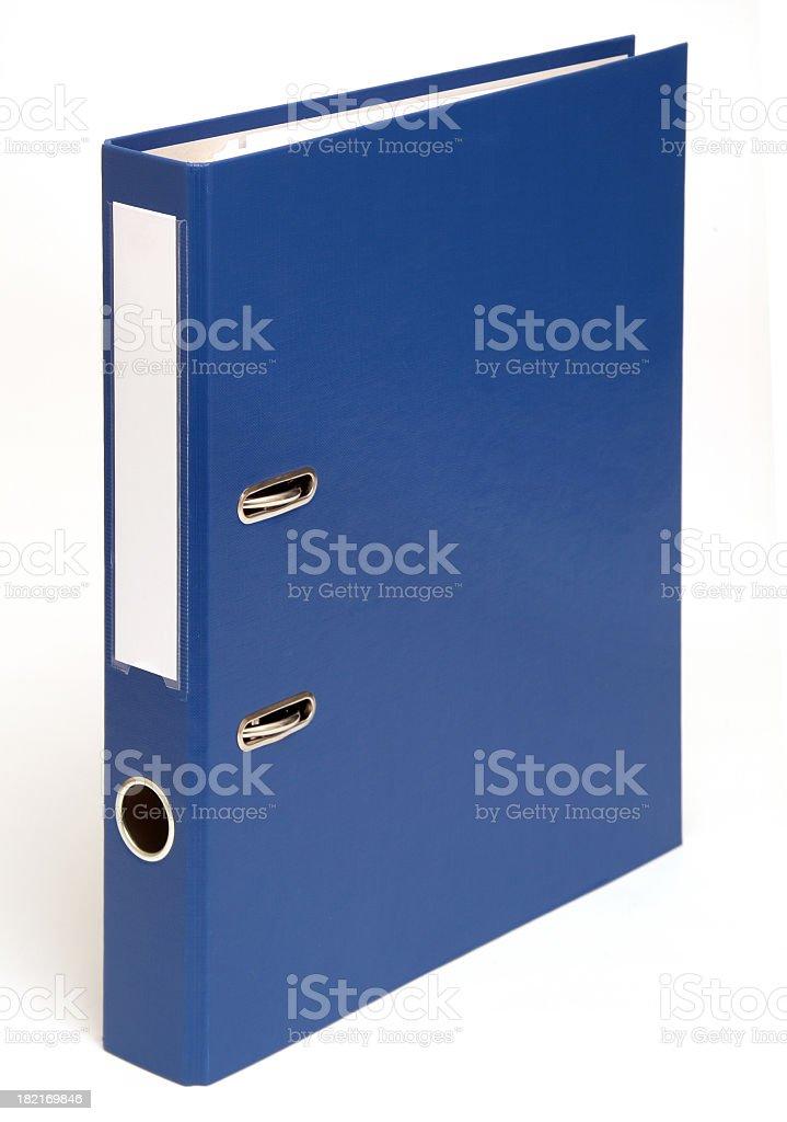 Blue binder folder system on a white background stock photo