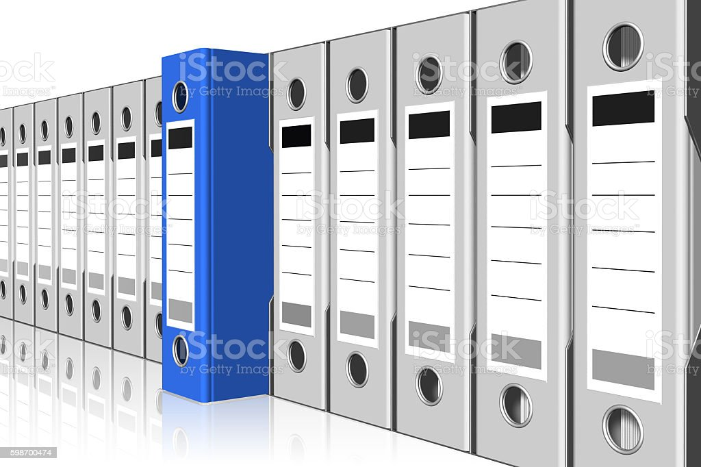 blue binder selection stock photo