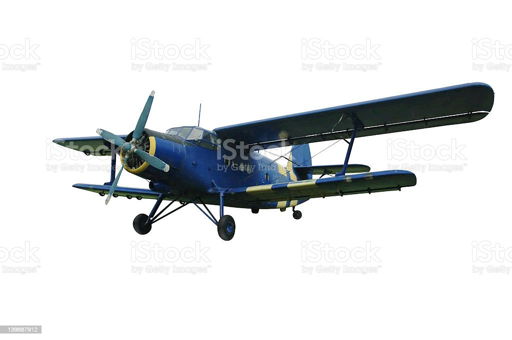 Blue biplane, isolated royalty-free stock photo