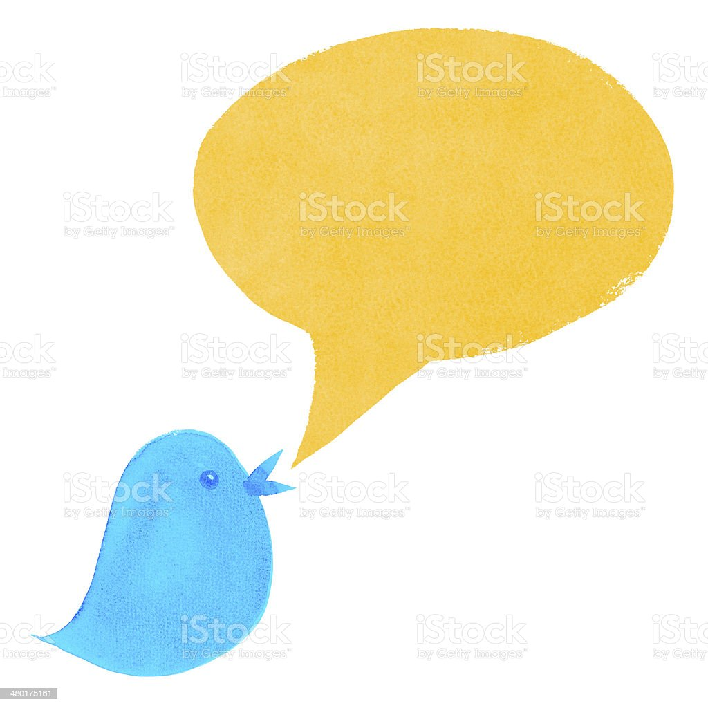 Blue Bird with Yellow Speech Bubble royalty-free stock photo