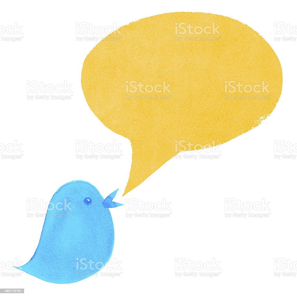Blue Bird with Yellow Speech Bubble stock photo