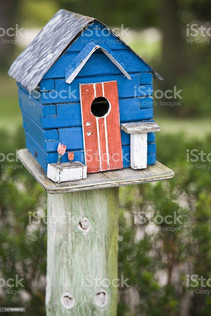 Blue Birdhouse royalty-free stock photo