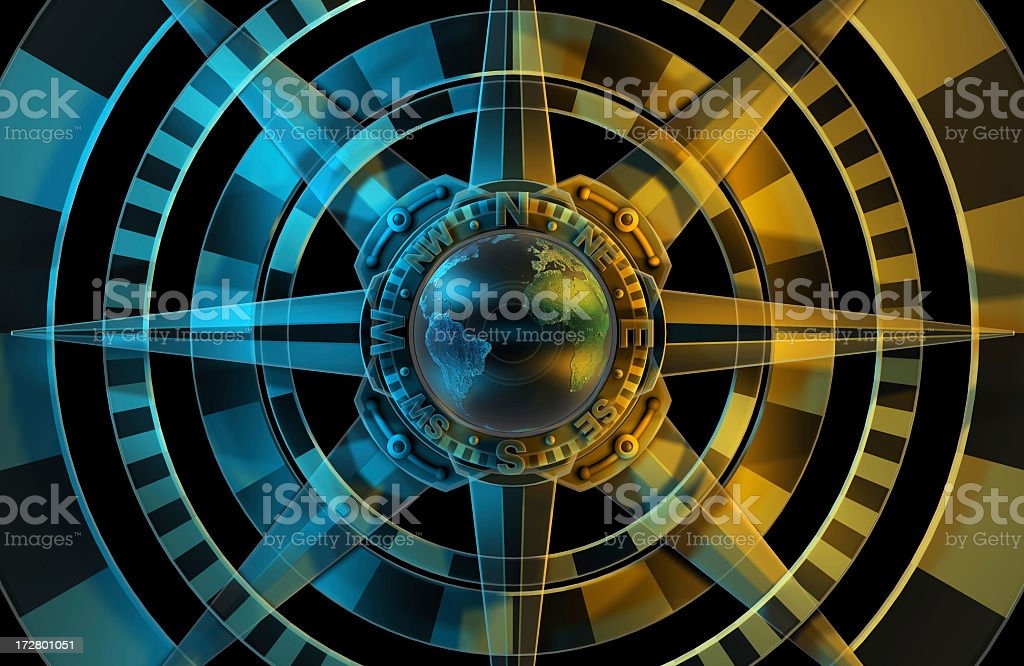 Blue, black and gold rose compass with cardinal points stock photo