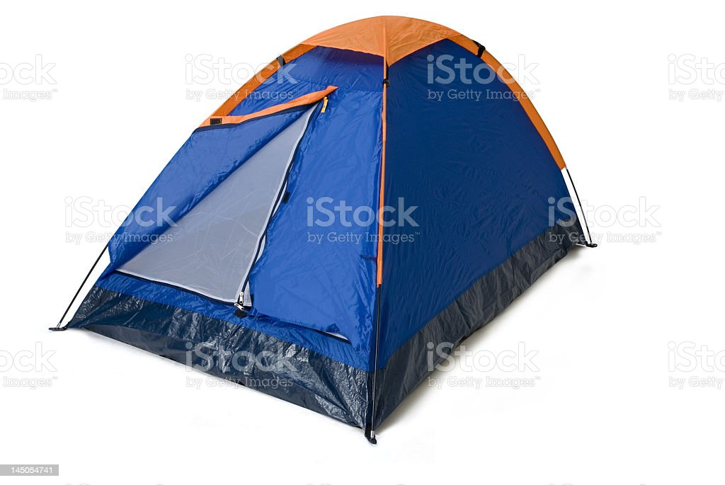 Blue, black and orange pyramid camping tent stock photo