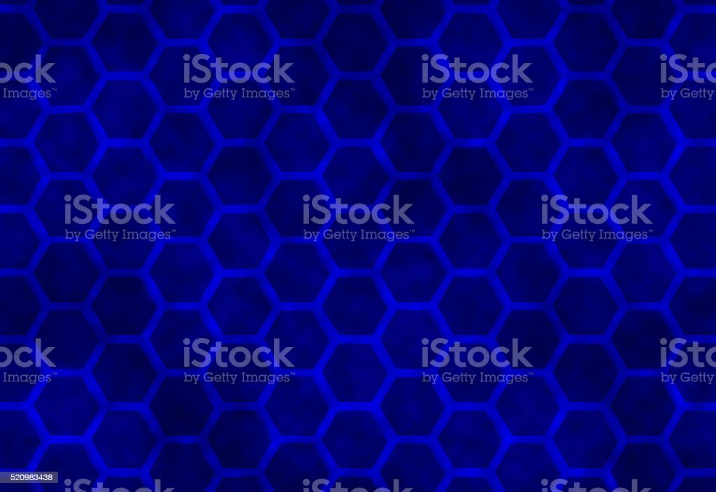 Blue Black Modern Abstract Hexagon Honeycomb Pattern Technology Background Architecture stock photo