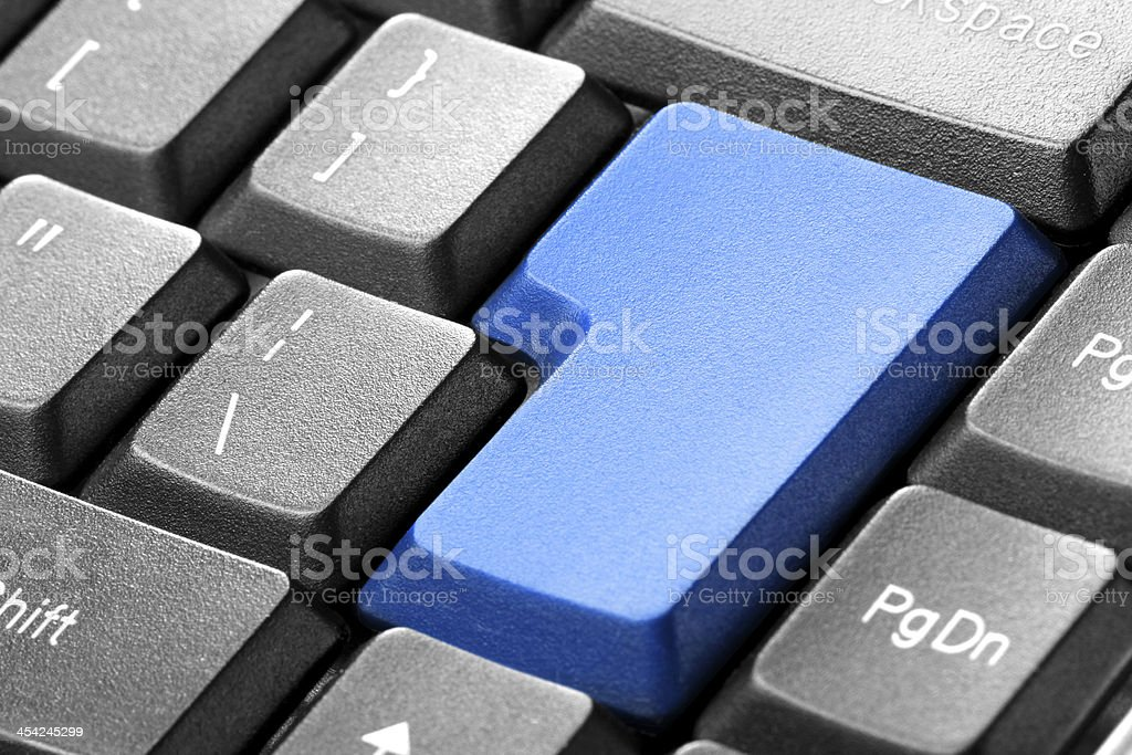 Blue blank button on the keyboard royalty-free stock photo