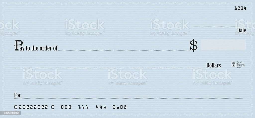 Blue Blank Check stock photo