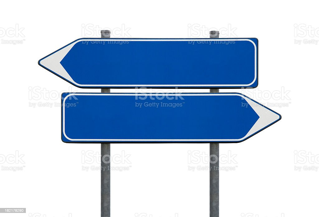 Blue blank directional sign posts stock photo