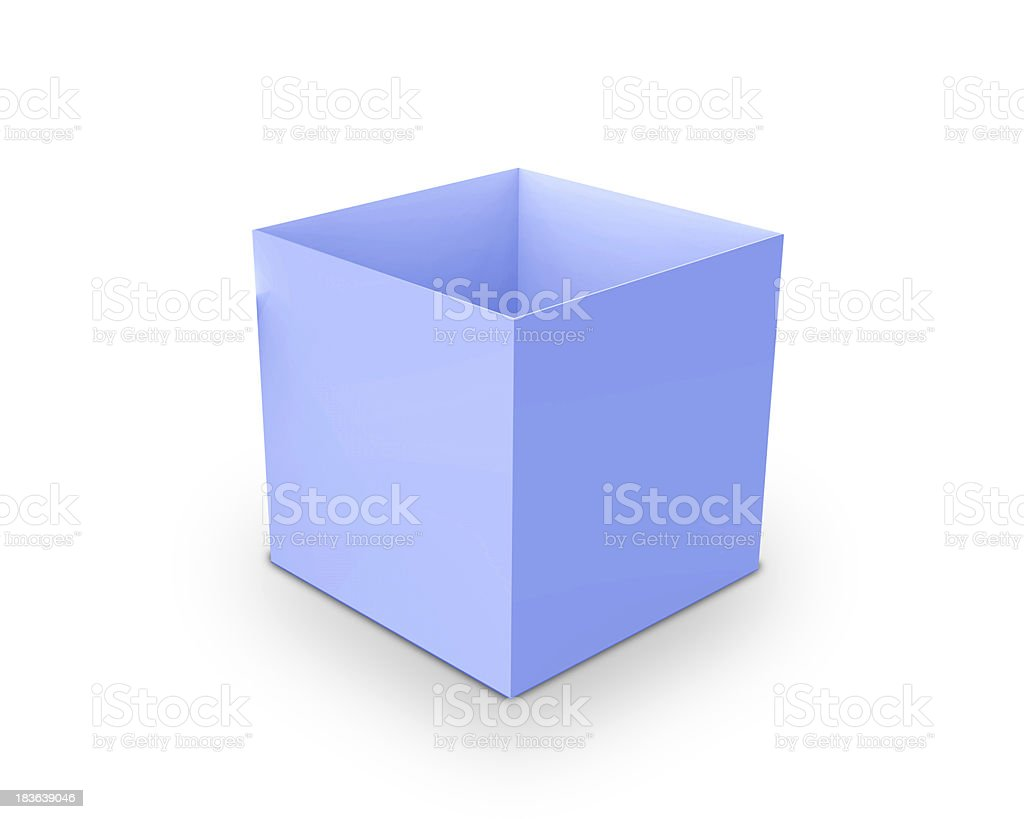 blue blank open box isolated over white background royalty-free stock photo