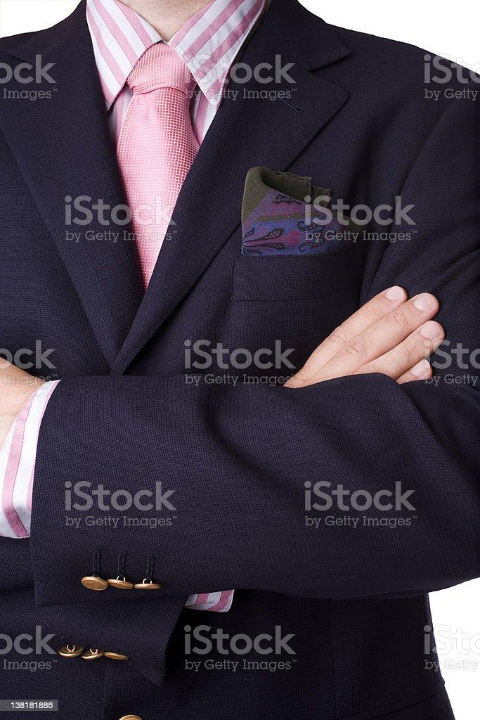 Blue blazer with strip shirt , tie and pocket square.