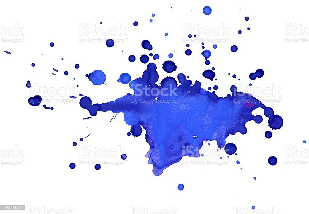 Blue blobs on the paper stock photo