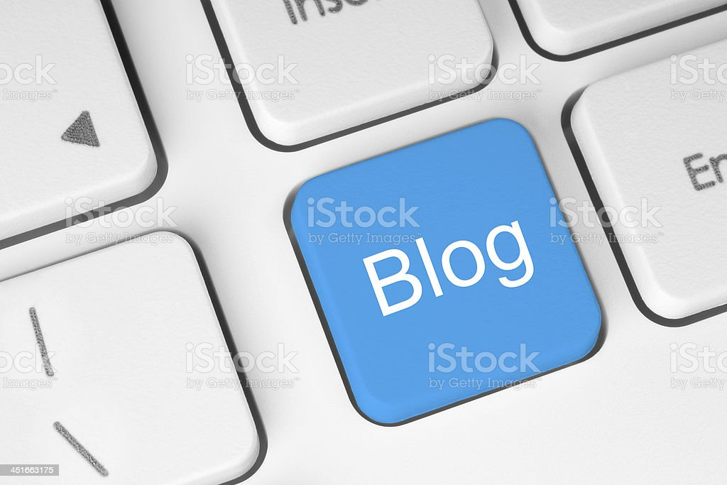 Blue blog button stock photo