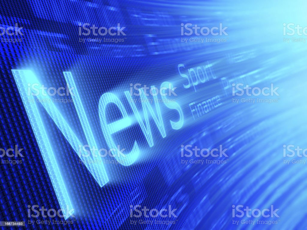 Blue blur of the news on a digital screen royalty-free stock photo