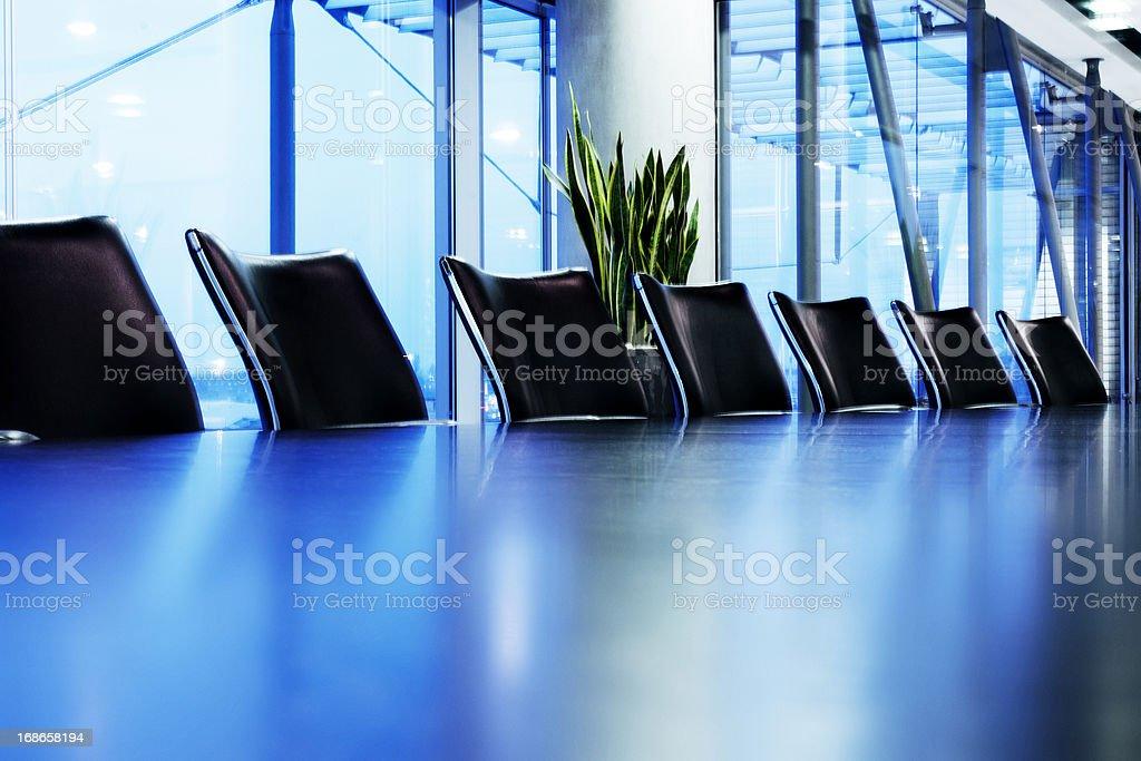 Blue boardroom stock photo