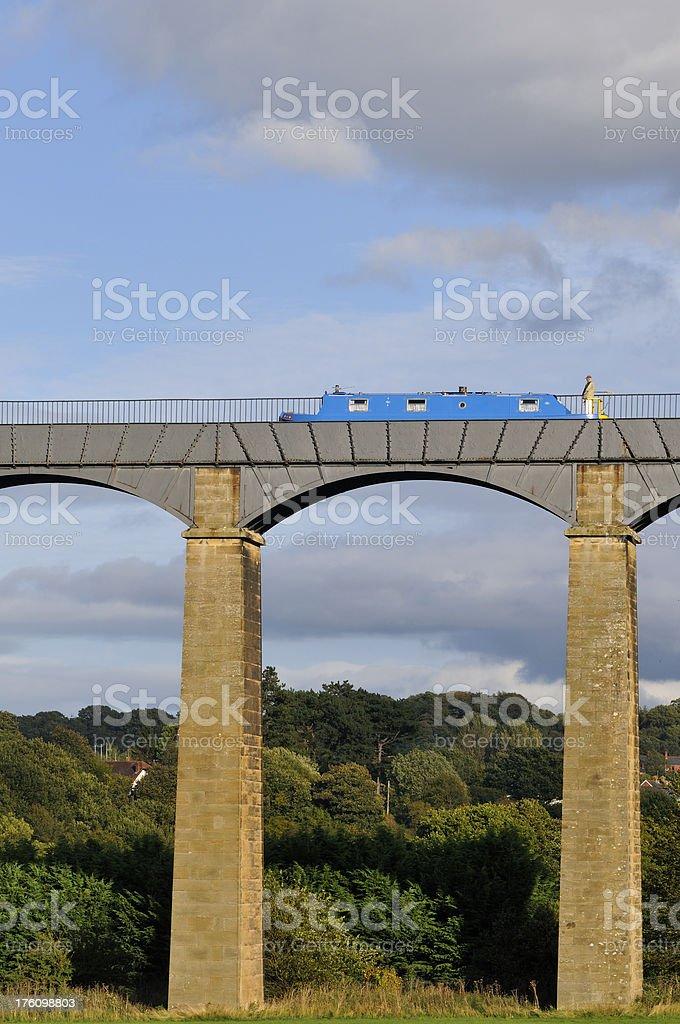 Blue Boat  on Pontcysyllte Aqueduct stock photo