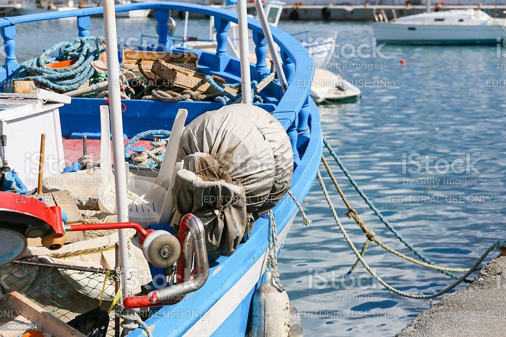 Blue Boat stock photo