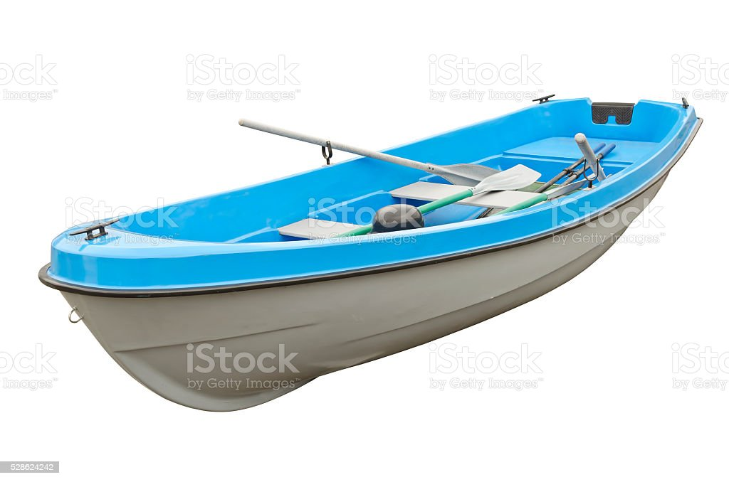 Blue boat stock photo