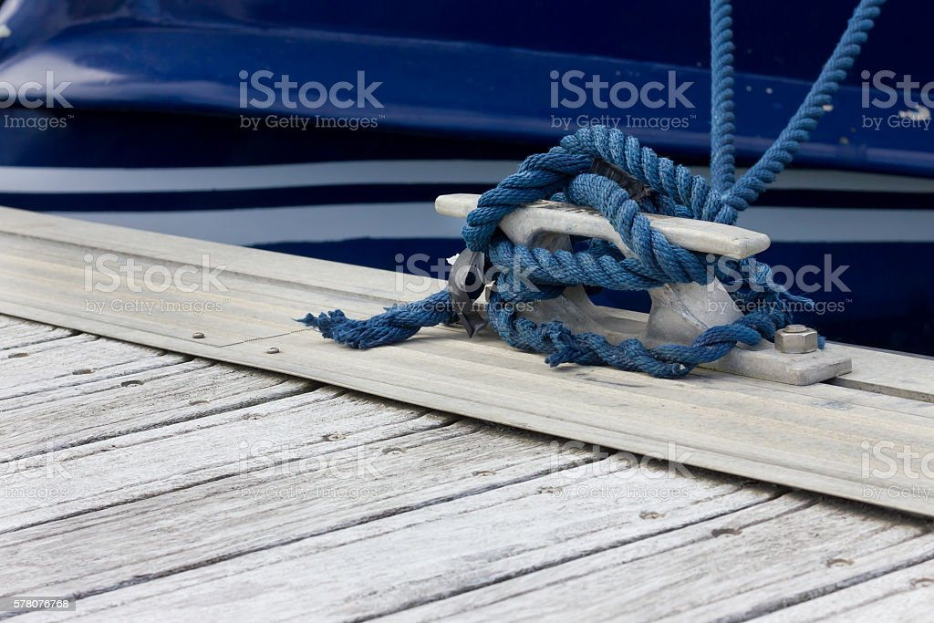 Blue boating knot stock photo