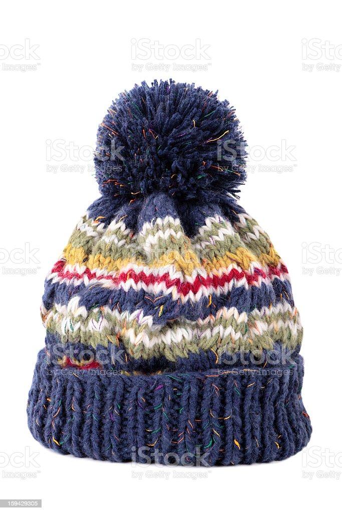 Blue bobble hat stock photo
