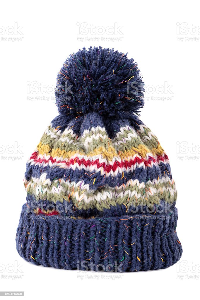 Blue bobble hat stock photo