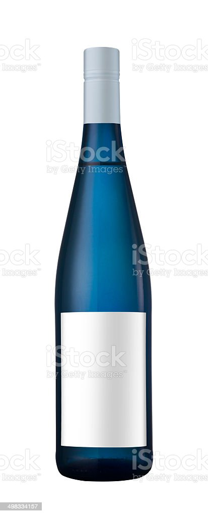 Blue bottle of wine with blank label stock photo
