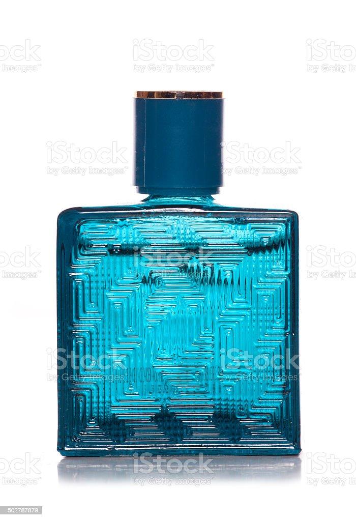 blue bottle perfume stock photo