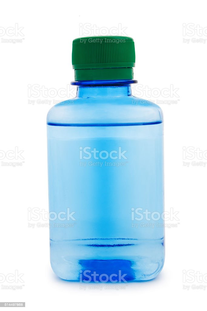 Blue bottle with a chemical liquid stock photo
