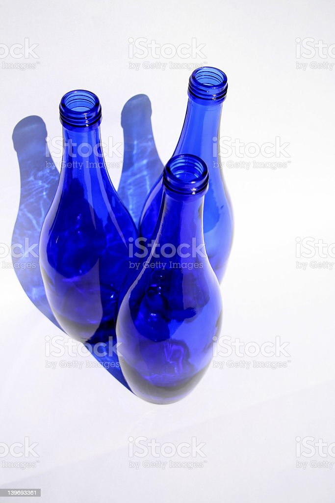 blue bottles of glass stock photo