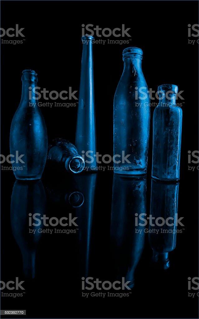Blue Bottles stock photo