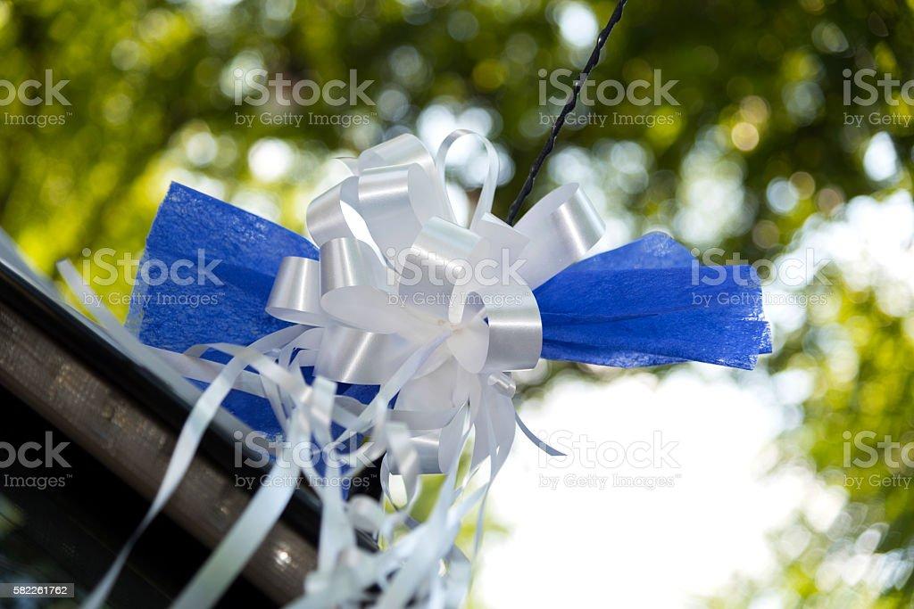 Blue bow decoration stock photo