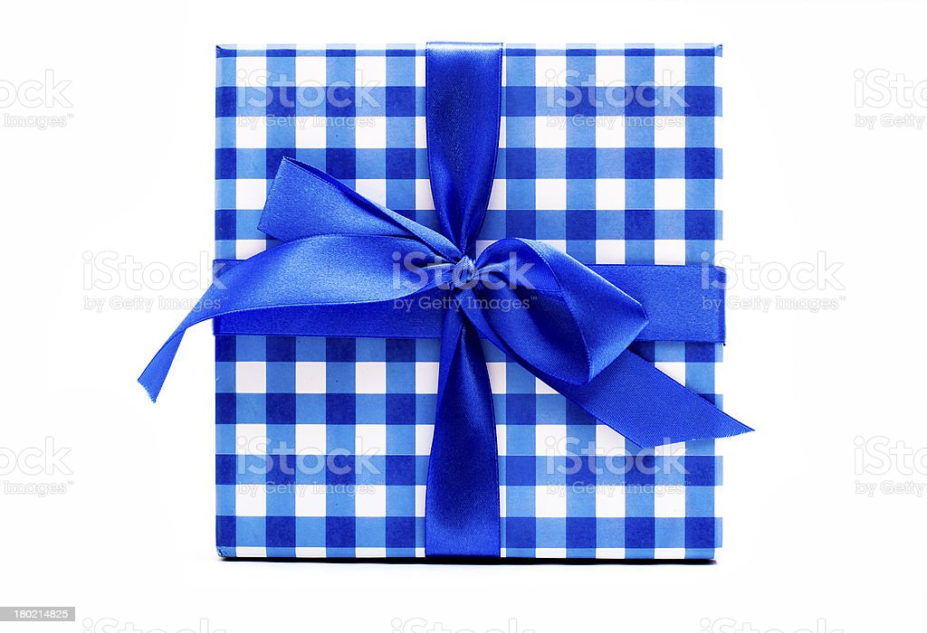 Blue bow for gift box royalty-free stock photo