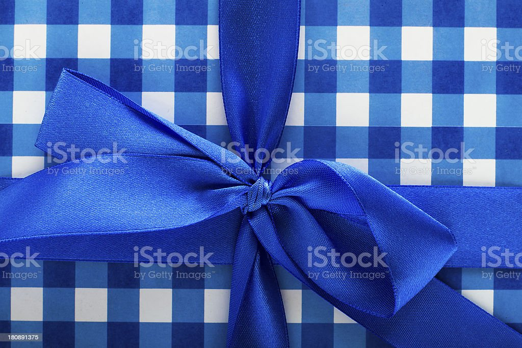 Blue Bow Gift royalty-free stock photo