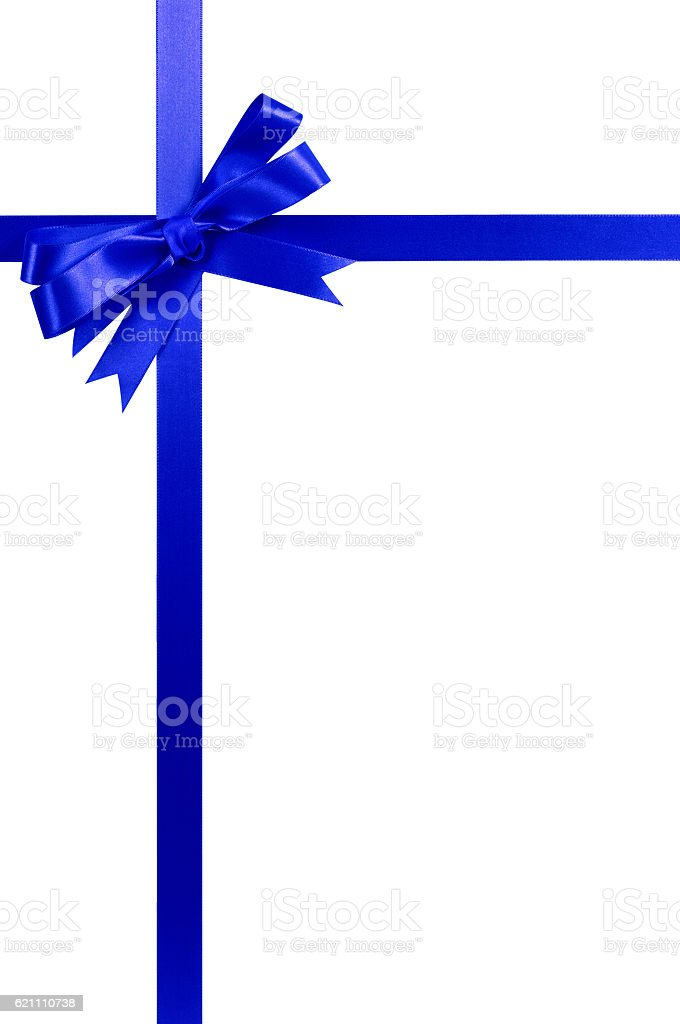 Blue bow gift ribbon tall vertical stock photo