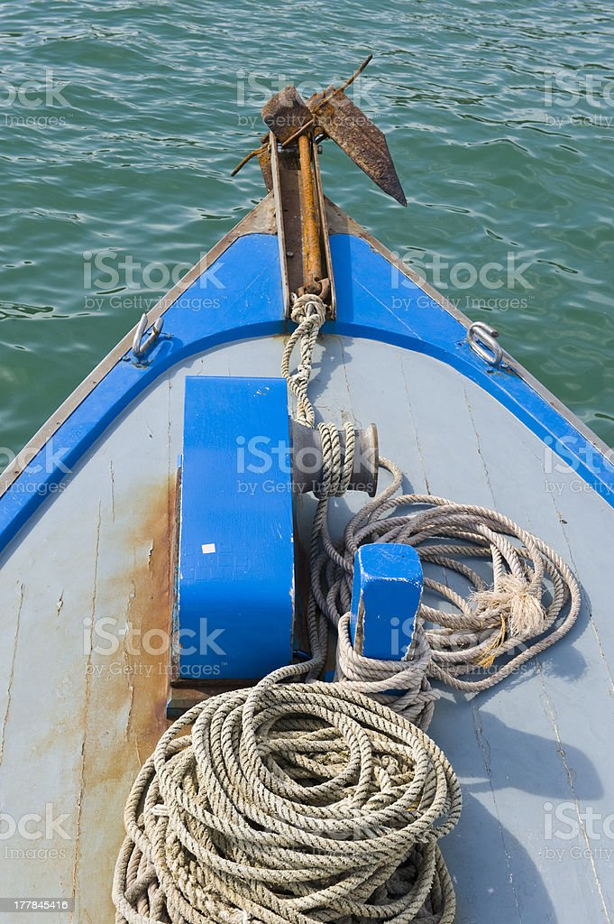 Blue bow of boat and anchor royalty-free stock photo