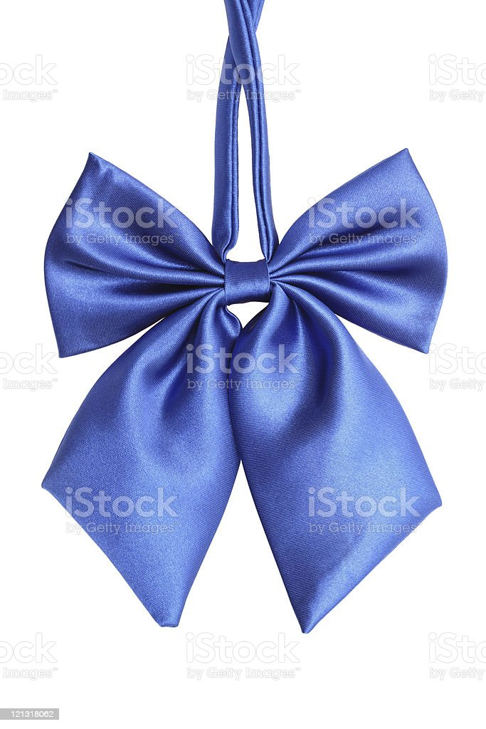 Blue Bow tie for women, isolated on white royalty-free stock photo