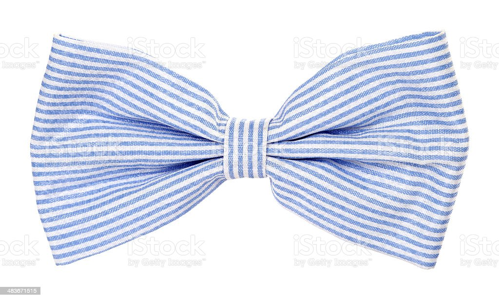 Blue bow tie with stripes stock photo